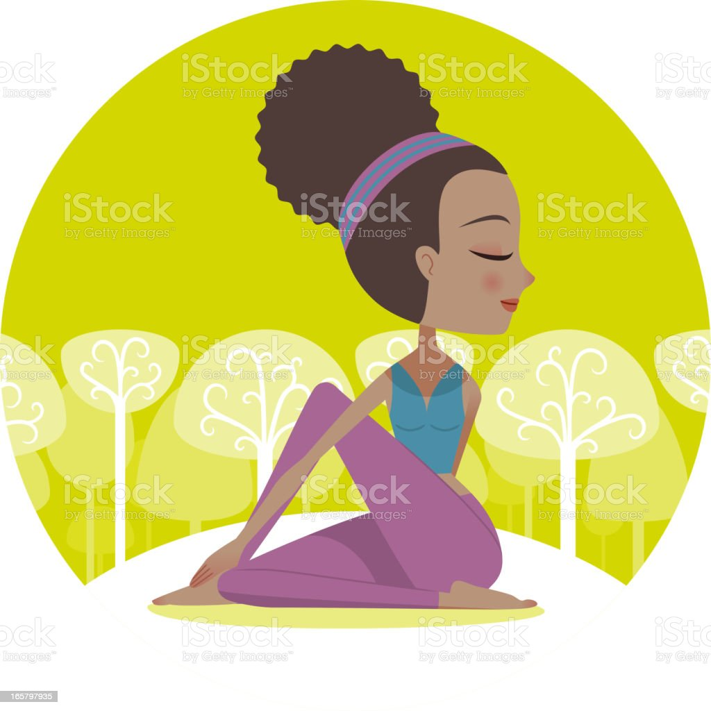 Yoga Twist Pose royalty-free stock vector art