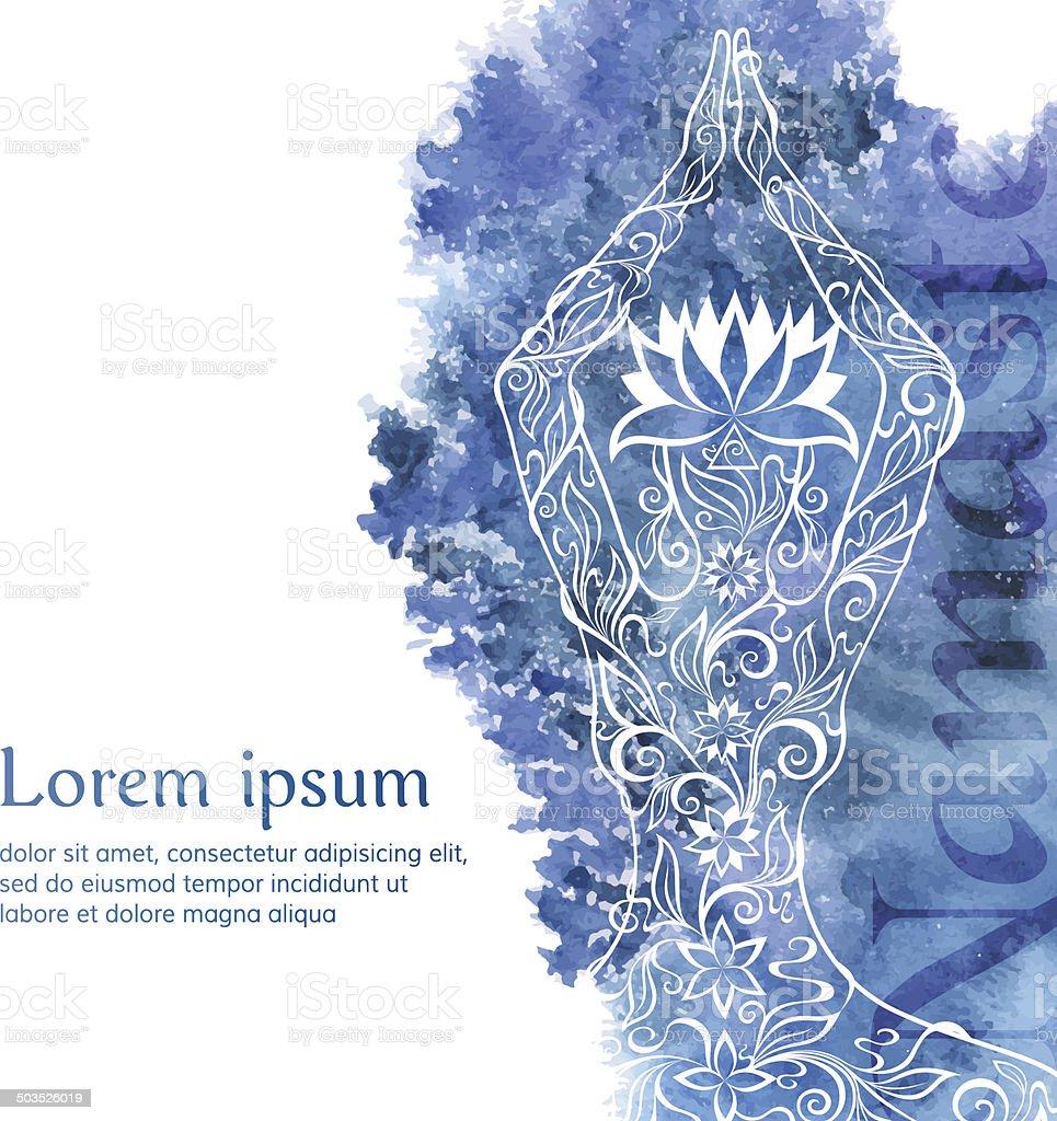 Yoga watercolor banner vector art illustration
