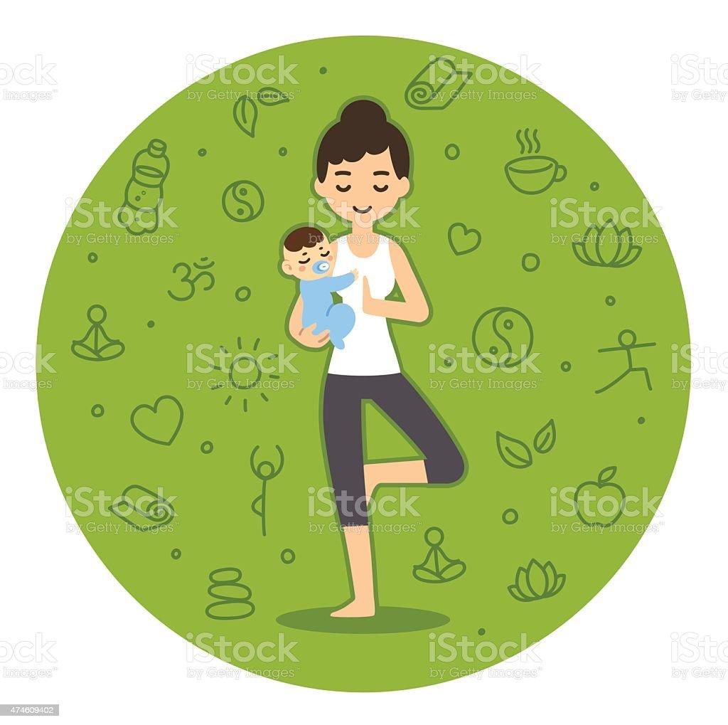 Yoga woman vector art illustration