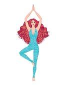Yoga woman vector illustration. Pose Vrikshasana. Girl Meditation