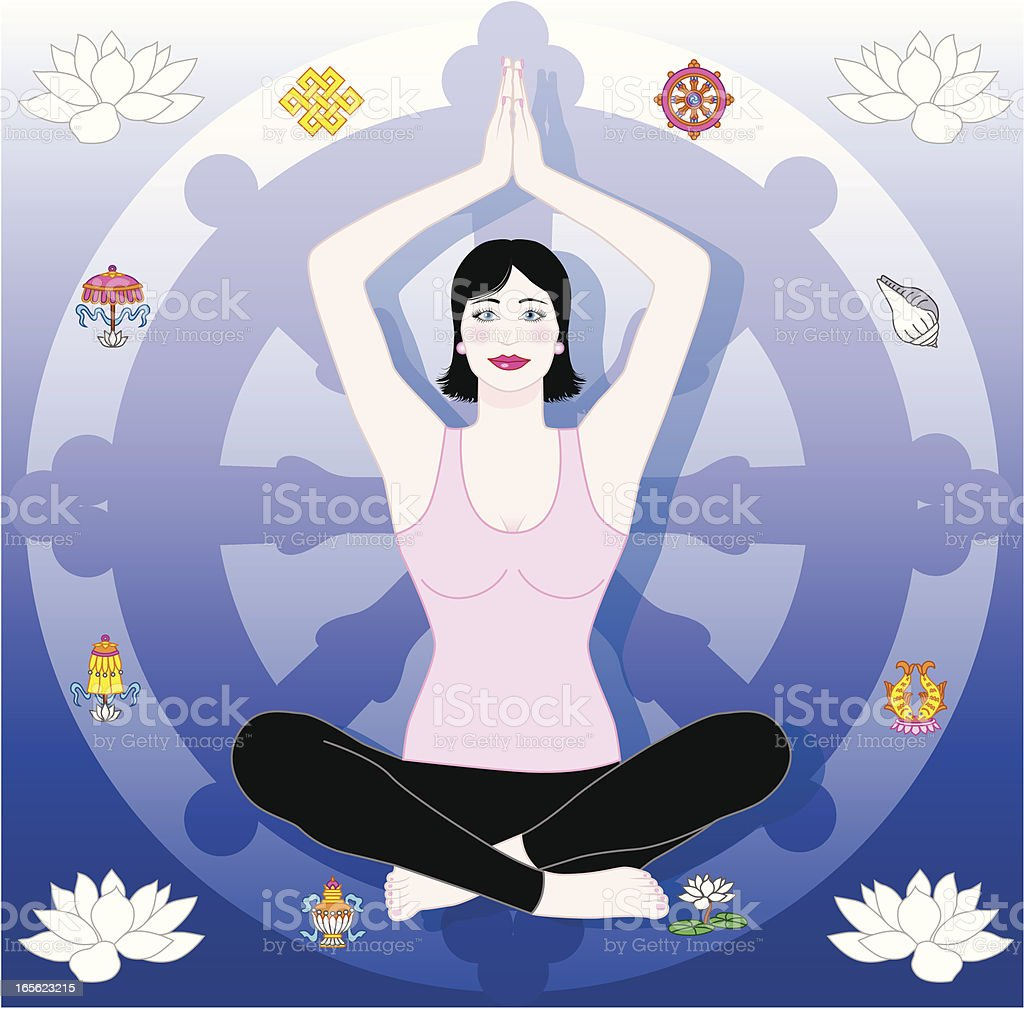Yoga woman with Dharma Wheel royalty-free stock vector art