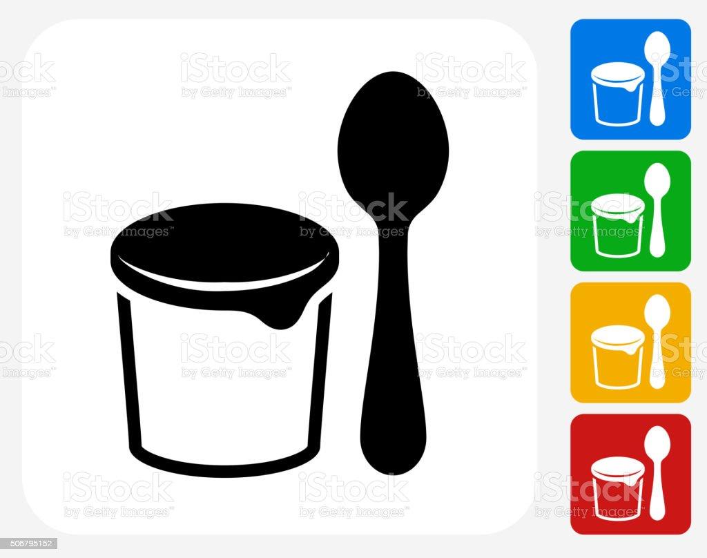 Yogurt and Spoon Icon Flat Graphic Design vector art illustration