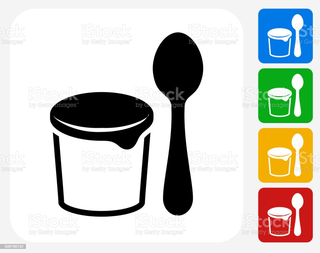 Yogurt and Spoon Icon Flat Graphic Design vector art illustration