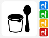 Yogurt and Spoon Icon Flat Graphic Design
