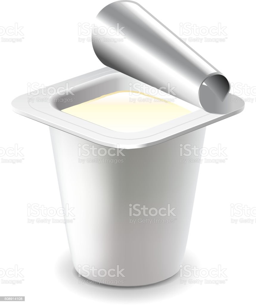 Yogurt in plastic cup isolated on white vector vector art illustration