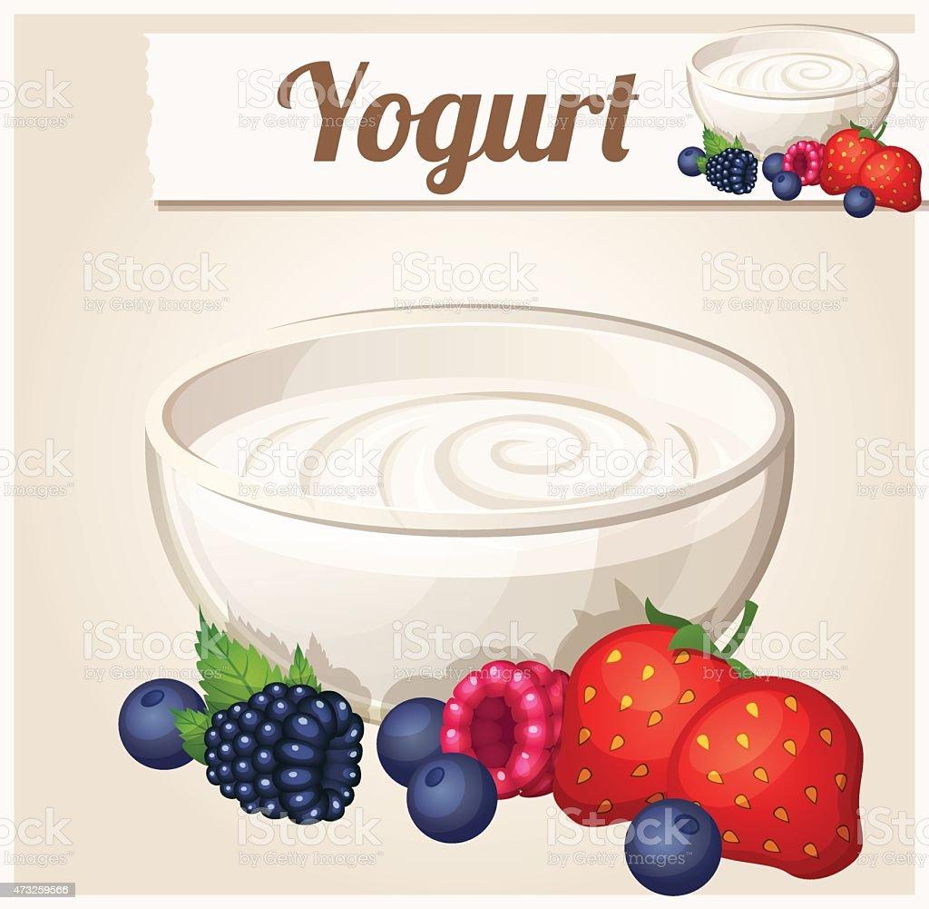 Yogurt with berries.  Detailed Vector Icon vector art illustration