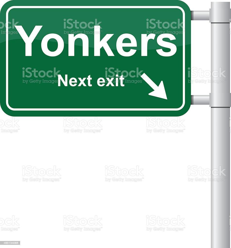 Yonkers next exit green signal vector vector art illustration