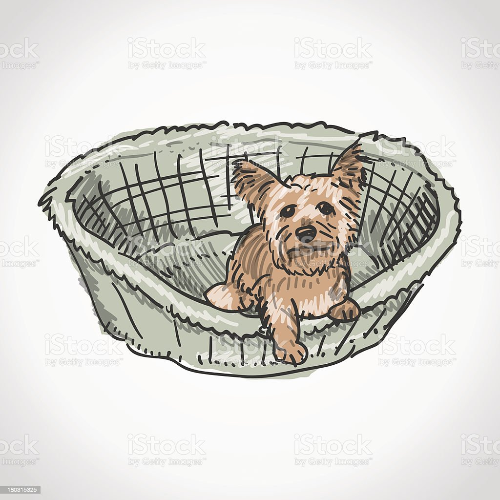 Yorkshire Terrier in Basket vector art illustration