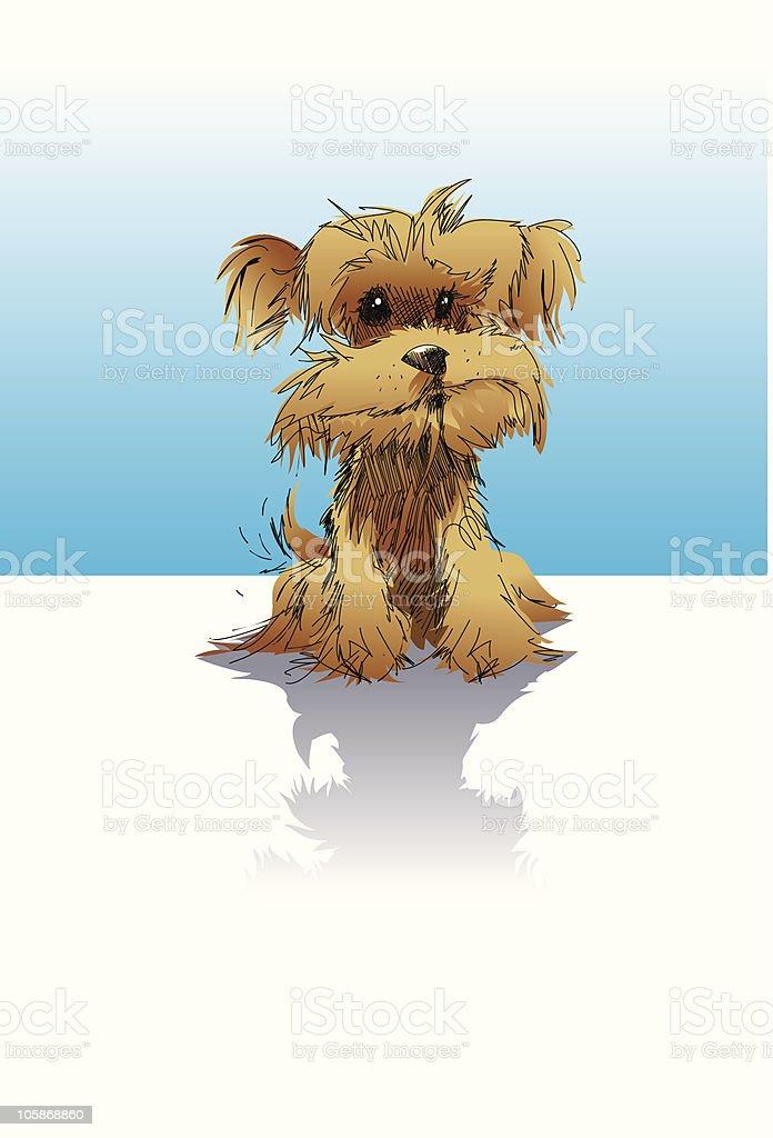 Yorkshire Terrier Puppy Cartoon vector art illustration