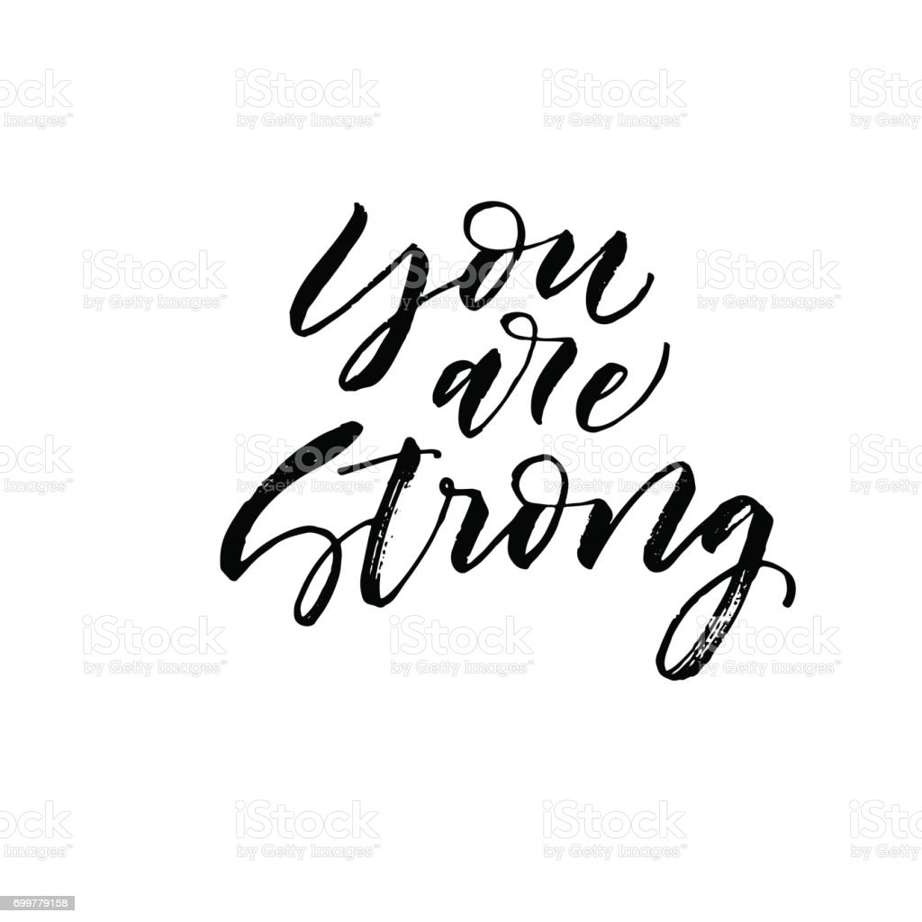 You are strong postcard. vector art illustration