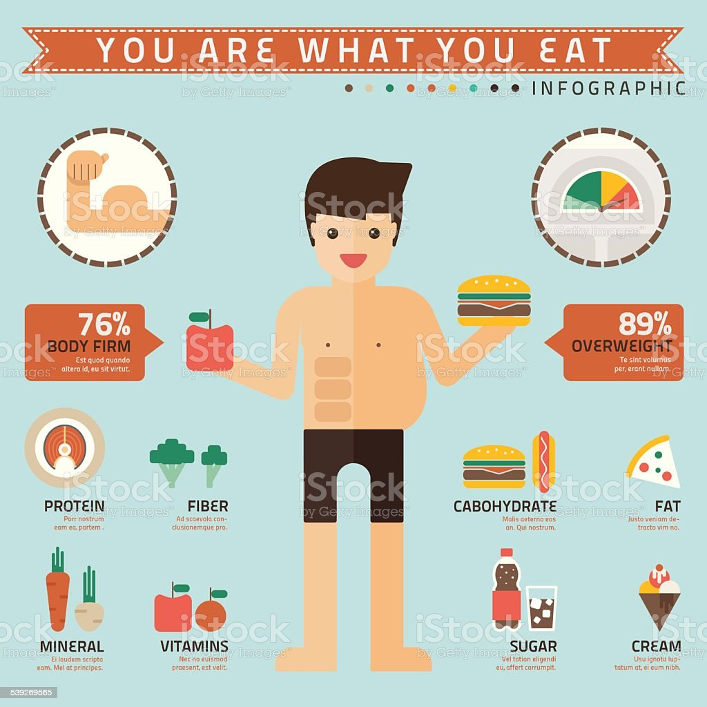 you are what you eat infographic vector art illustration