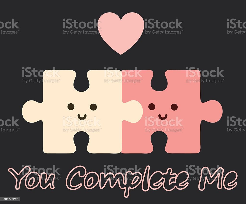 You complete me vector art illustration