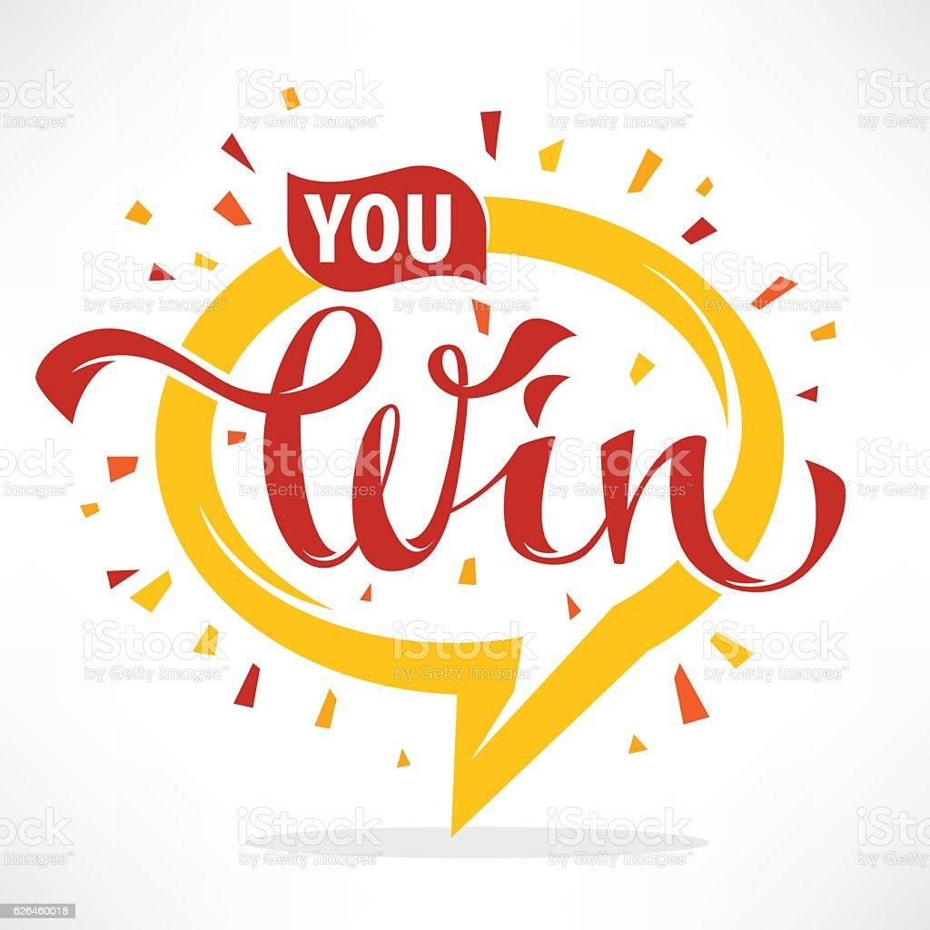 You win , vector congratulation banner vector art illustration