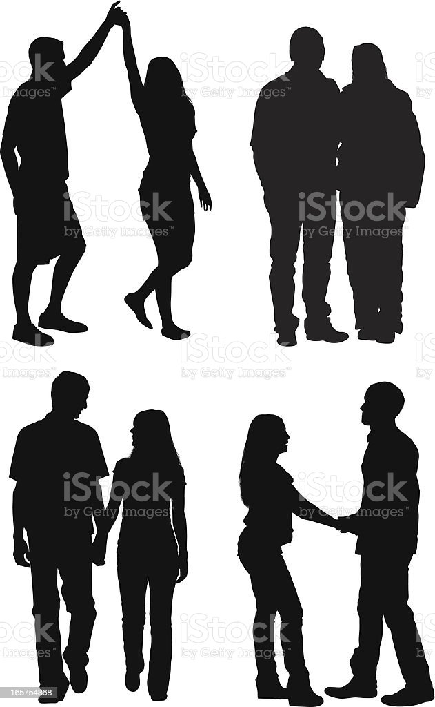 Young adult couples in love royalty-free stock vector art