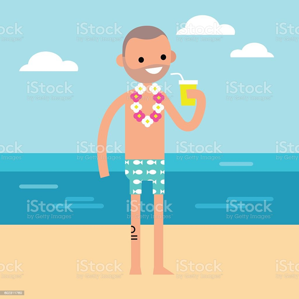 Young adult is drinking juice on the beach vector art illustration