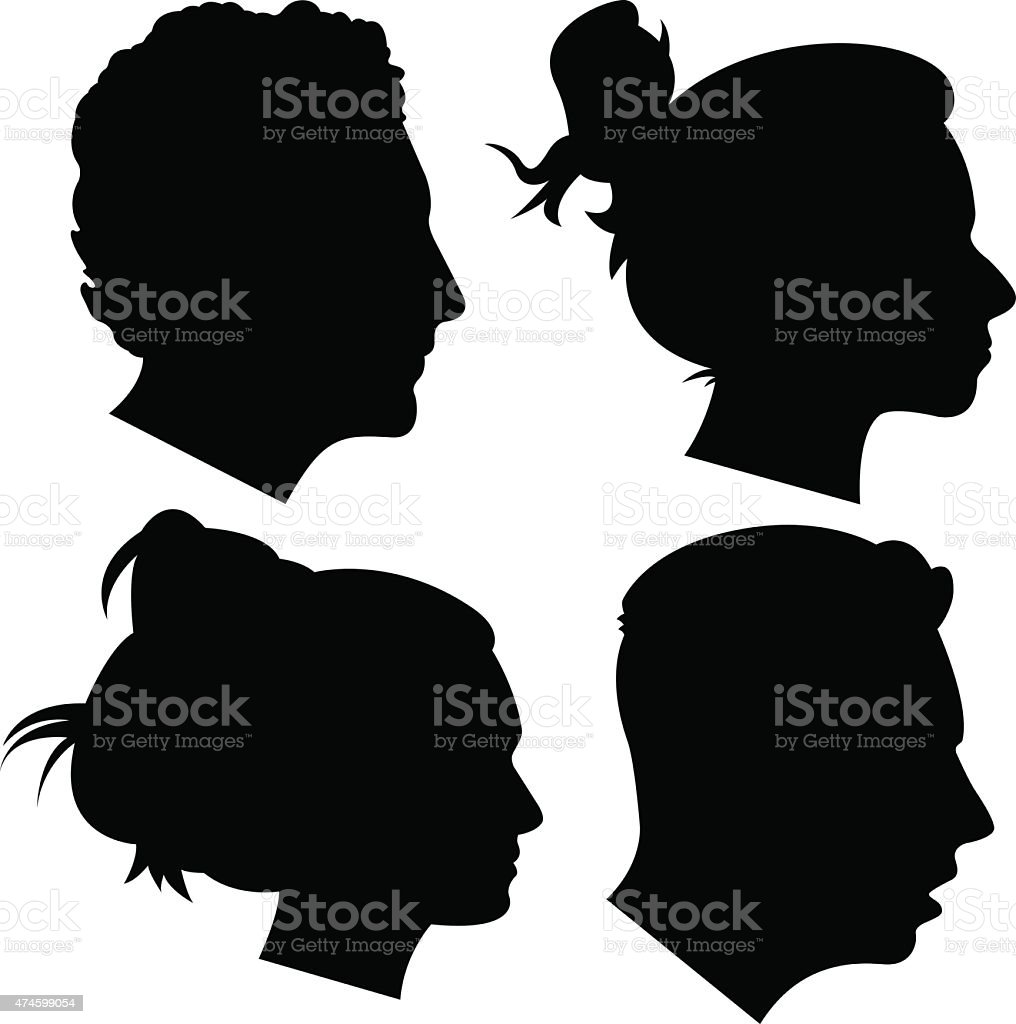Young Adult Profile Silhouettes 1 vector art illustration