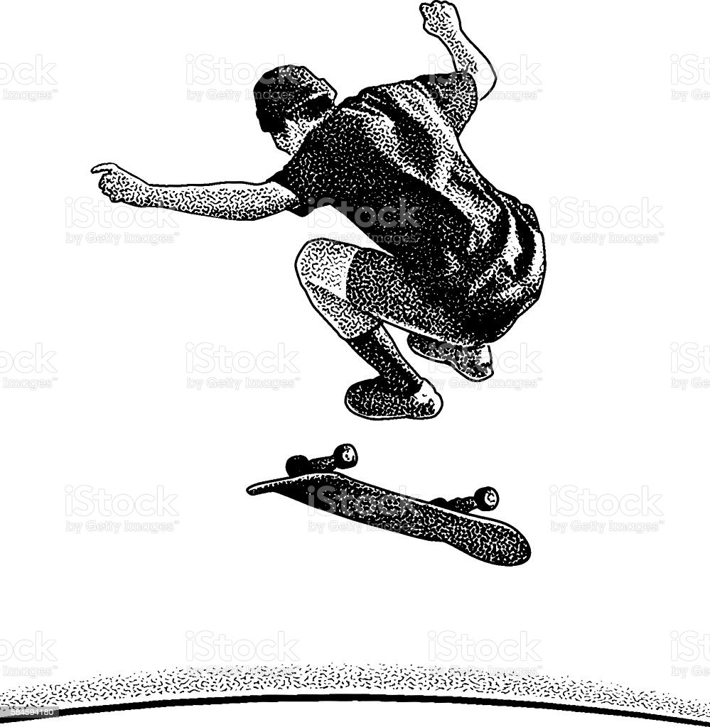 Young Adult Skateboarder Jumping isolated on white. vector art illustration