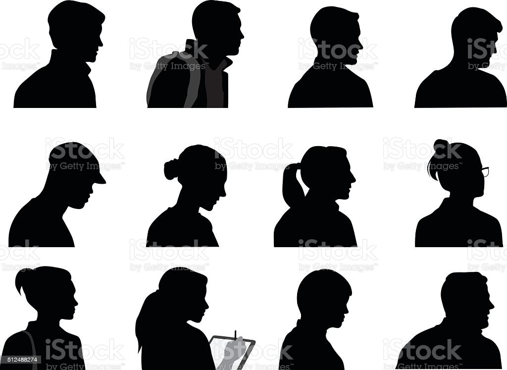 Young Adults Silhouette Profiles vector art illustration