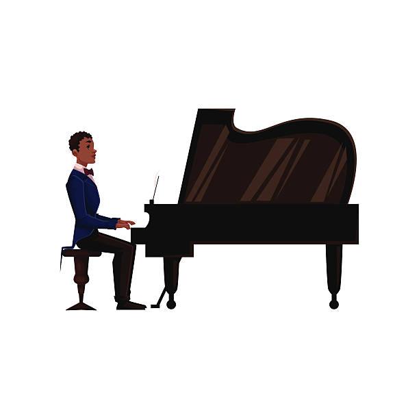 Dog Piano Cartoon Black