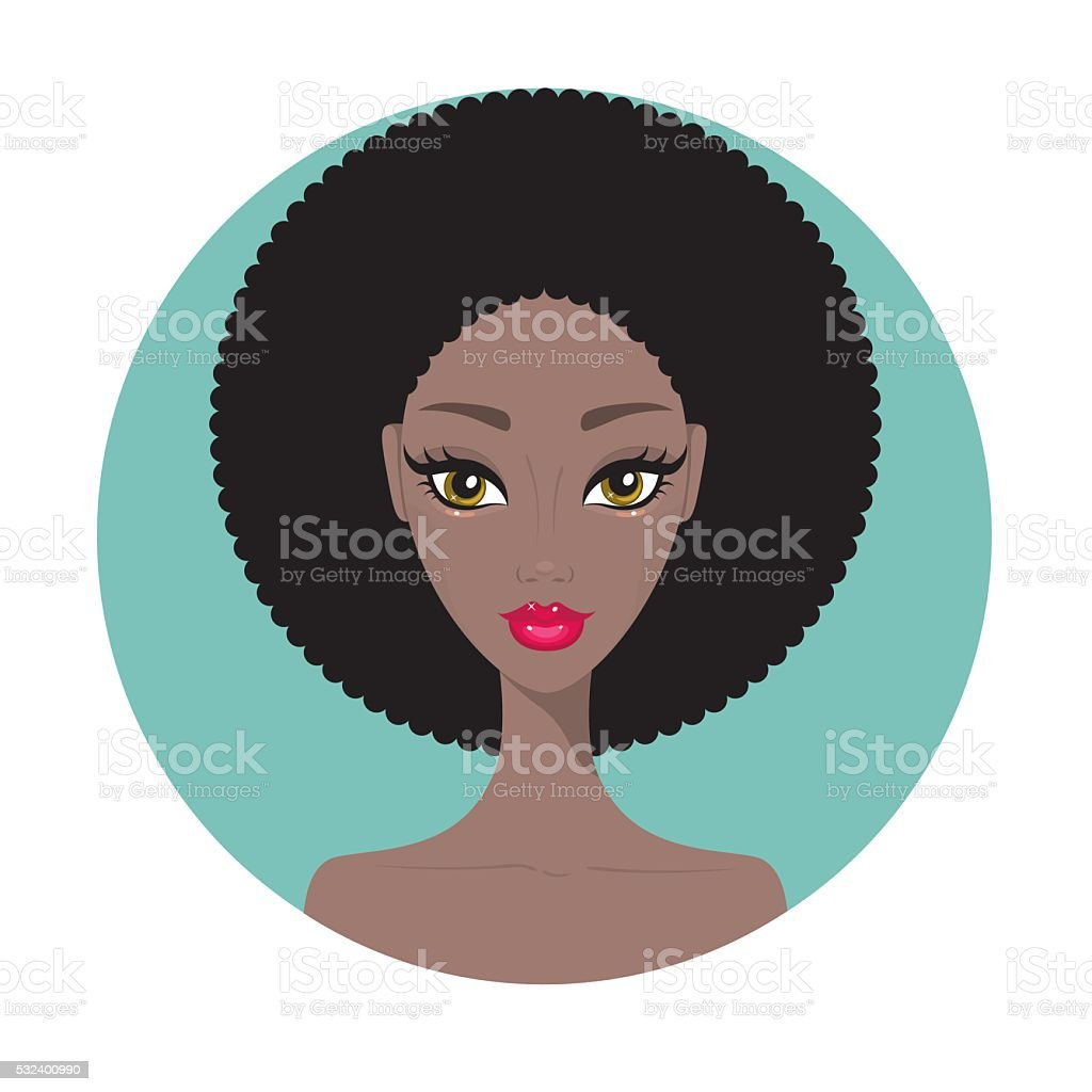 Young African American woman Beautiful girl portrait with perfect makeup vector art illustration