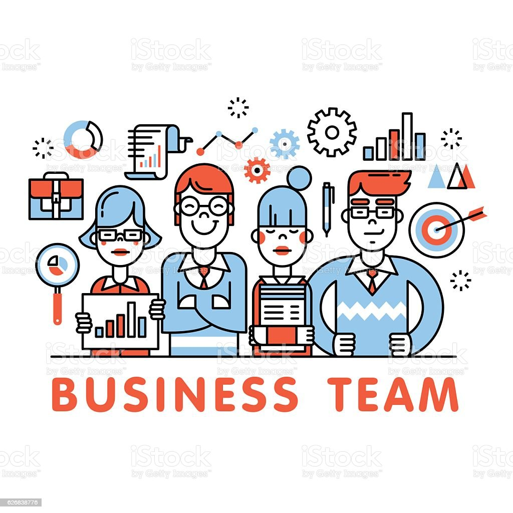 Young and successful business team standing tall vector art illustration