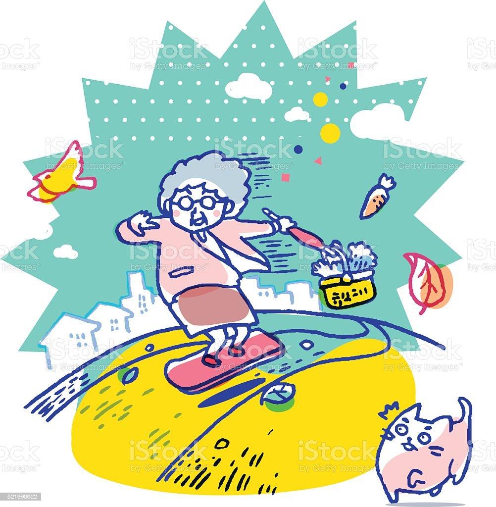Young at heart grandma riding levitating board vector art illustration