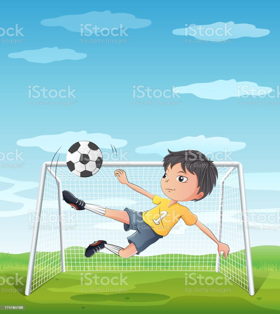 young athlete kicking the soccer ball royalty-free stock vector art