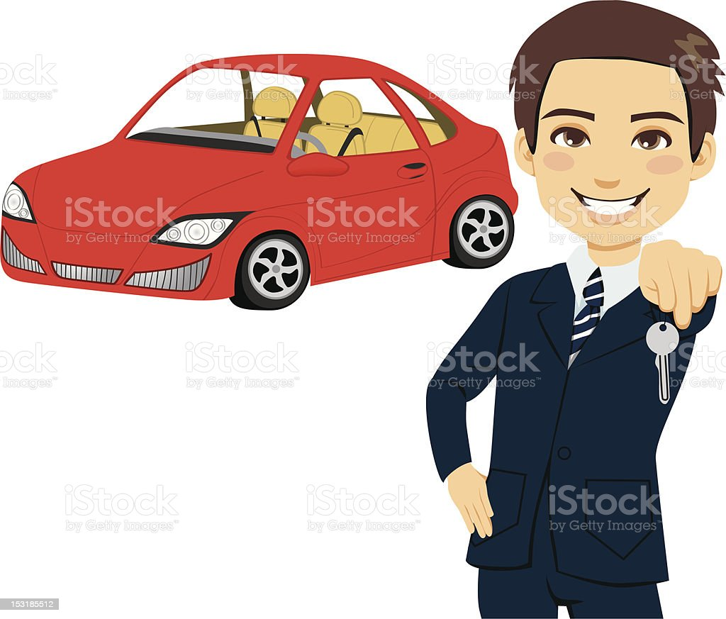 Young Automobile Salesman vector art illustration
