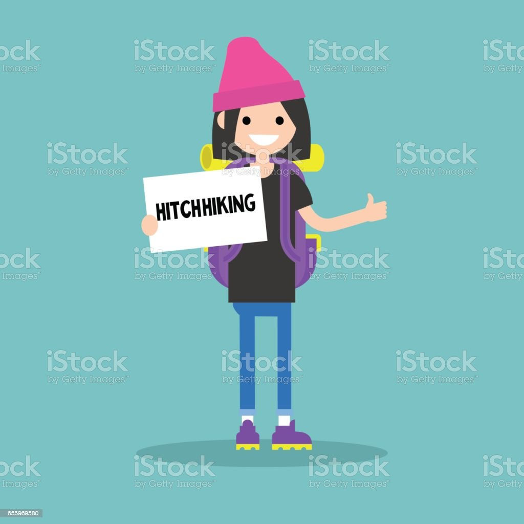 Young backpack traveler holding a sign. Hitchhiking / flat editable vector illustration, clip art vector art illustration