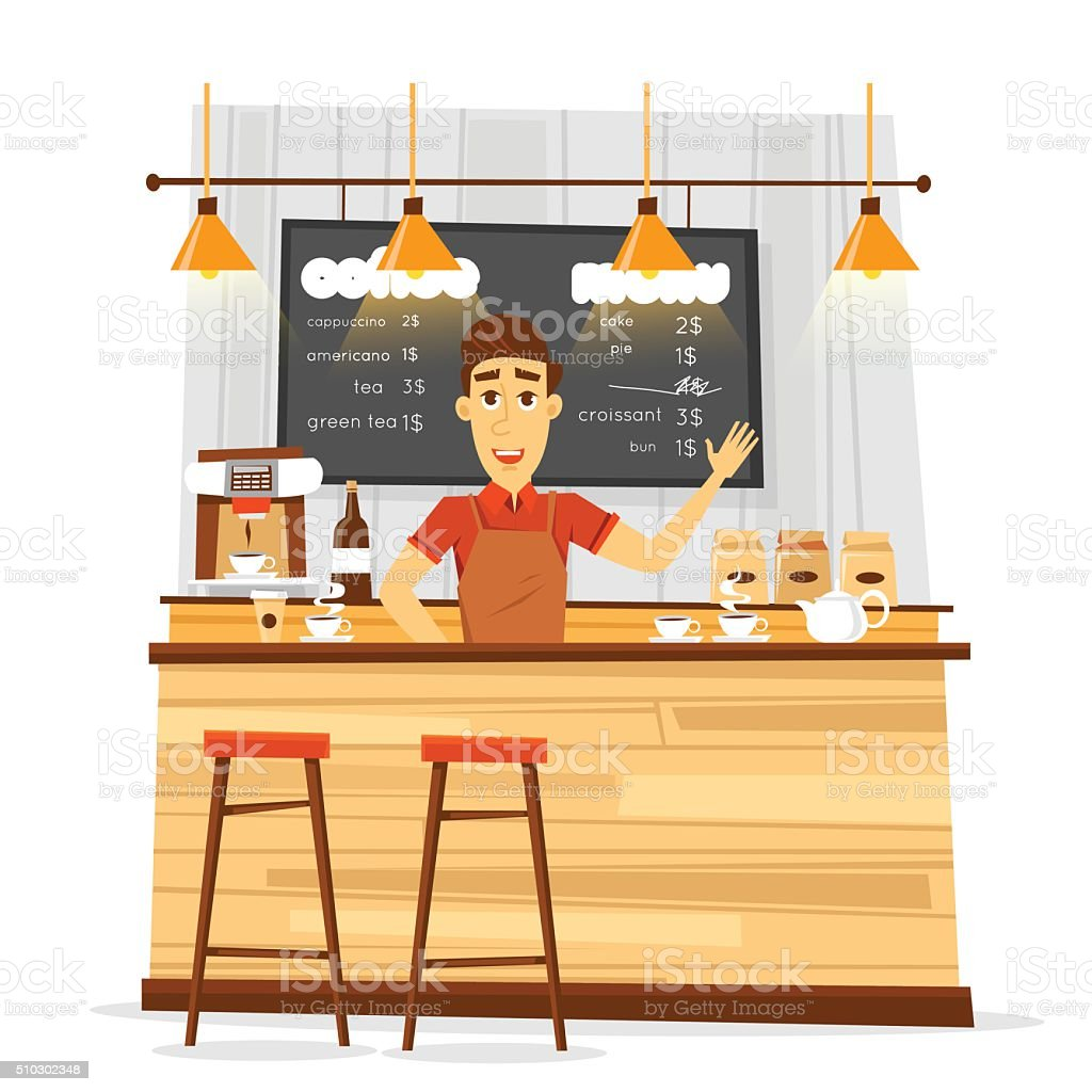 Young bari sta man and coffee bar. vector art illustration