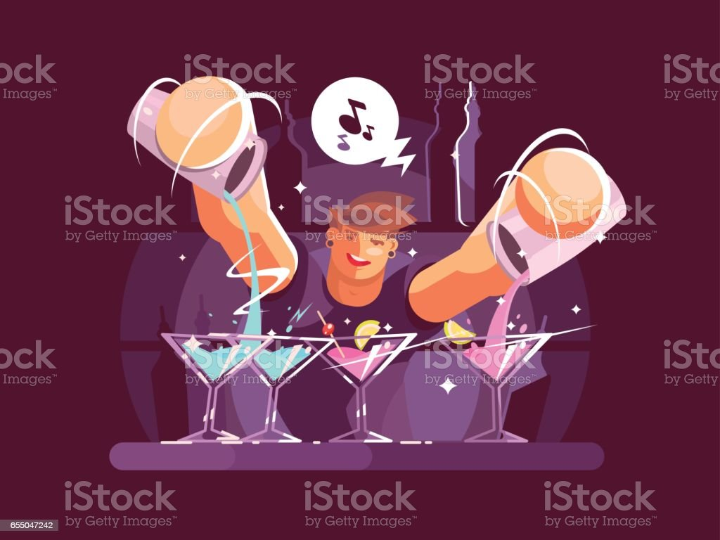 Young bartender pouring drinks vector art illustration