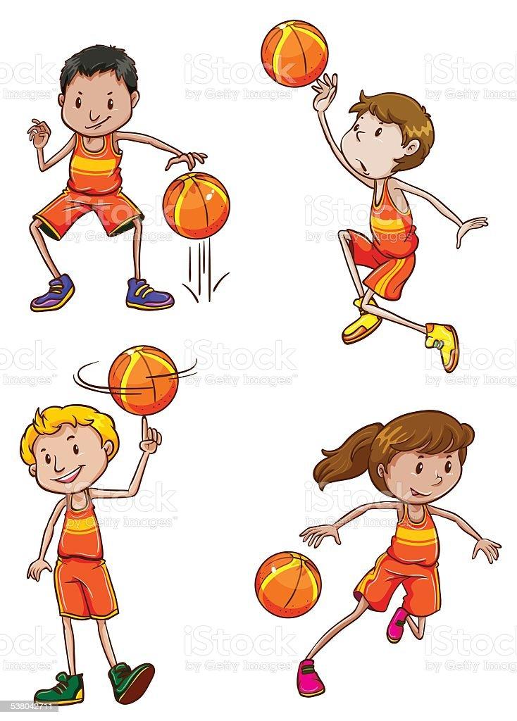 Young basketball players vector art illustration