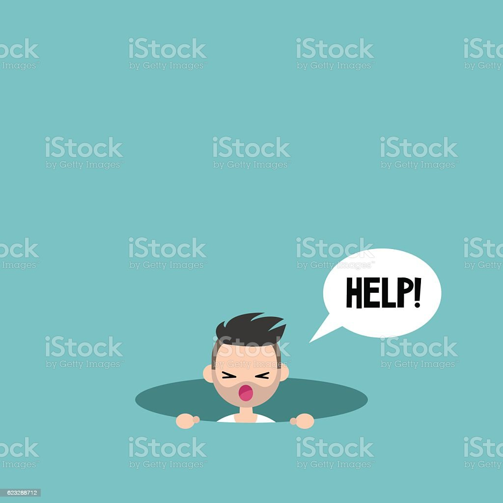 Young bearded man calling for help in the pit vector art illustration