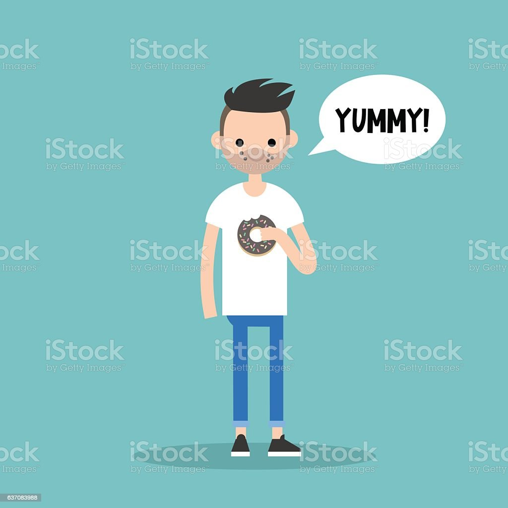 Young bearded man chewing chocolate donut vector art illustration