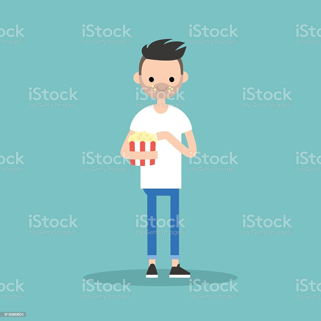 young bearded man chewing popcorn vector art illustration