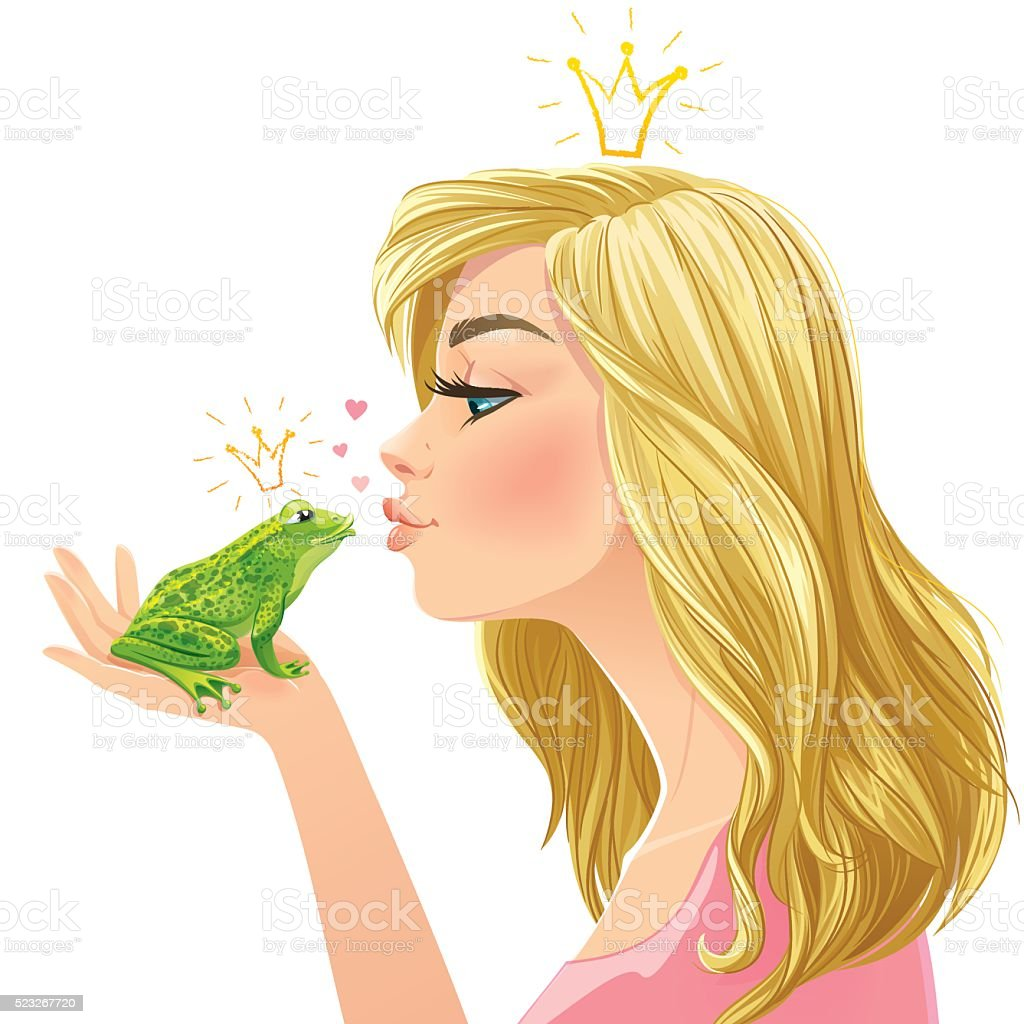 Young beautiful lady kisses a green frog vector art illustration