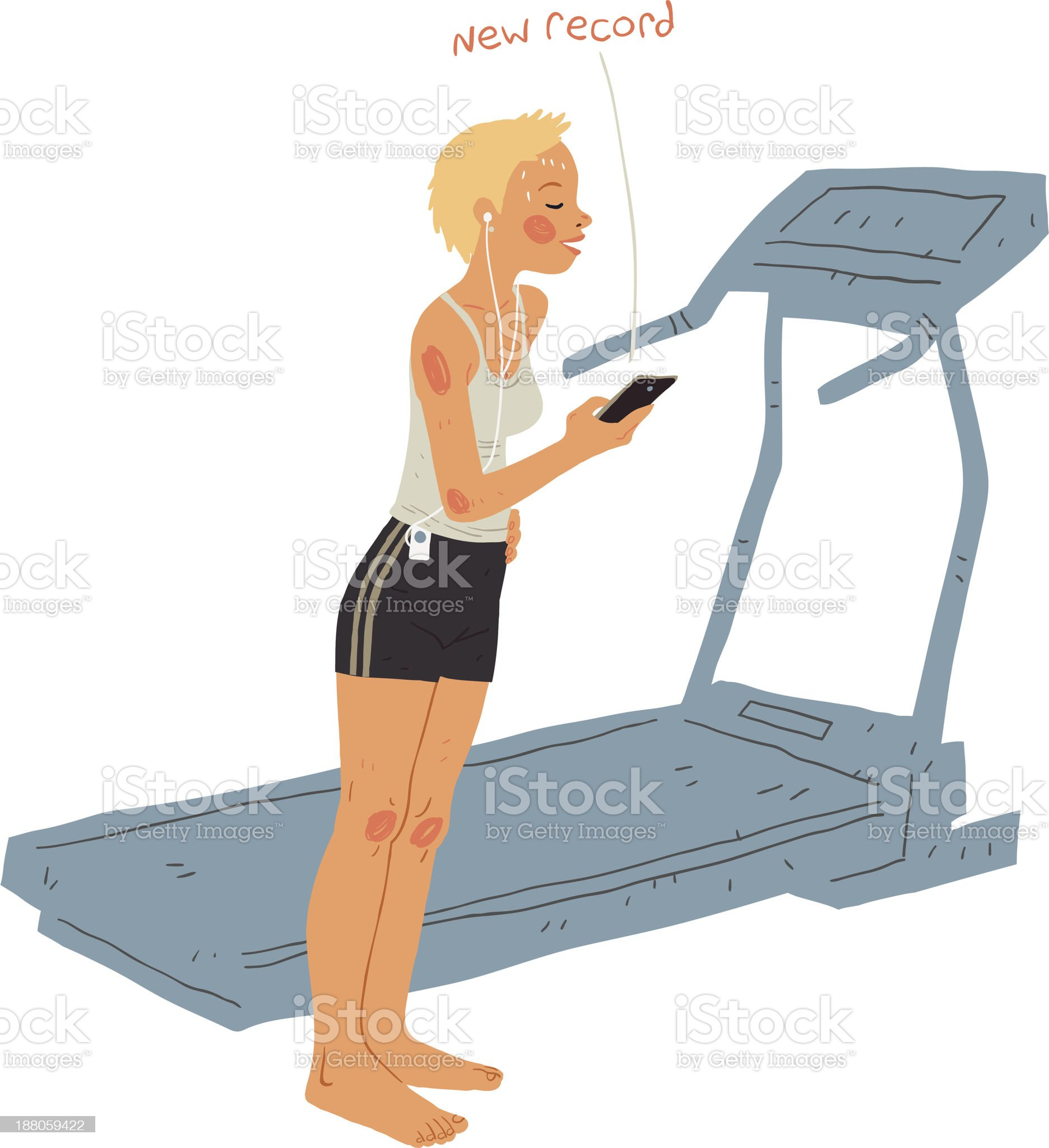 Young Beautiful Woman After Fitness Exercise royalty-free stock vector art