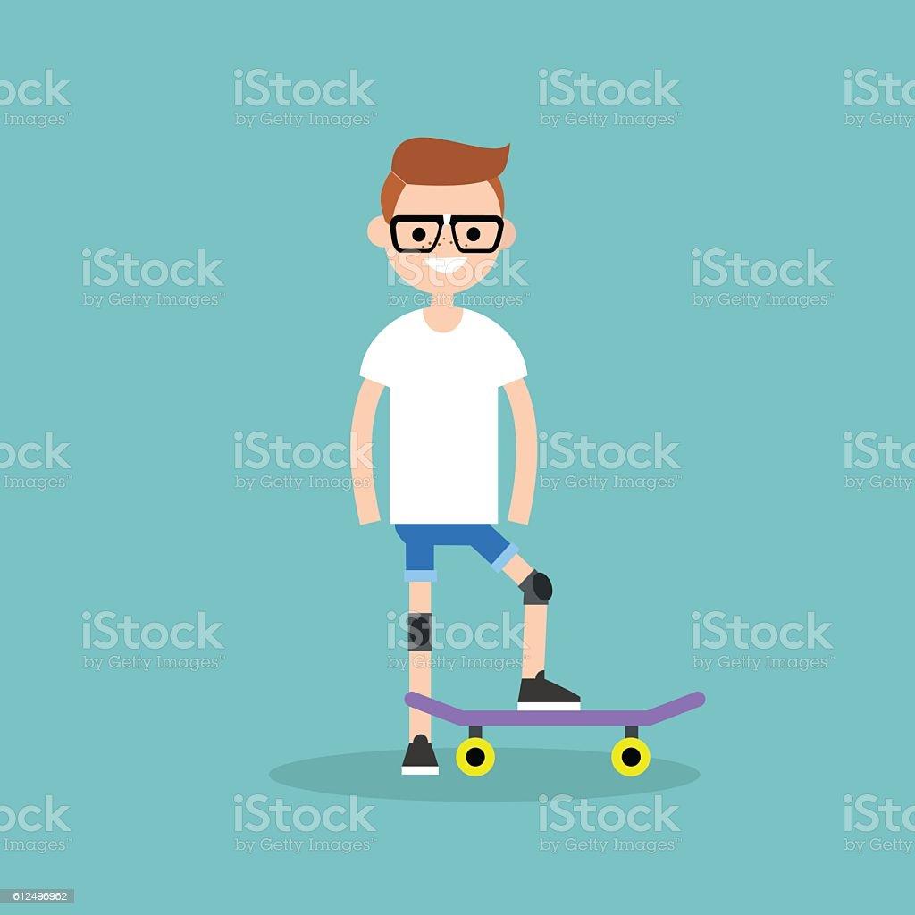 Young beginner skater wearing kneecaps vector art illustration