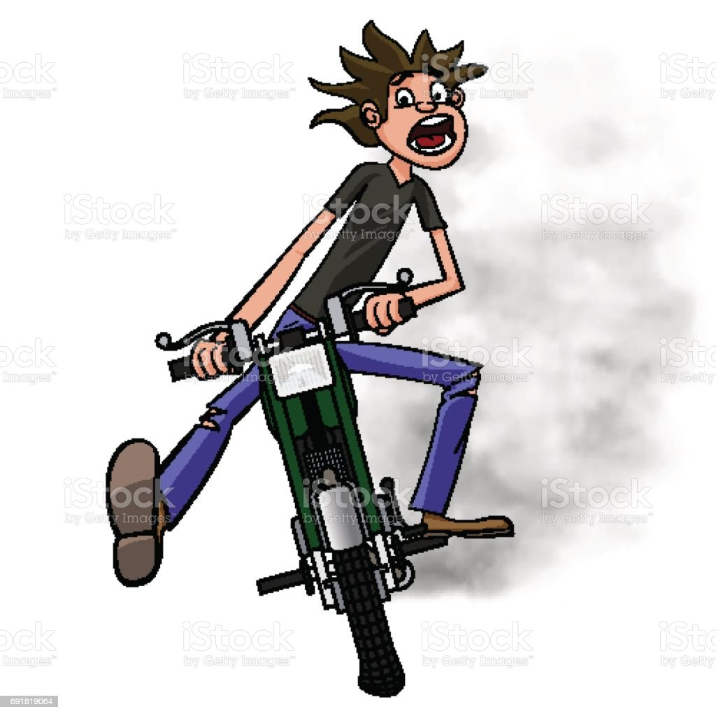 Young biker scary quickly rides on a motobike. And I was like brap. Vector illustration vector art illustration