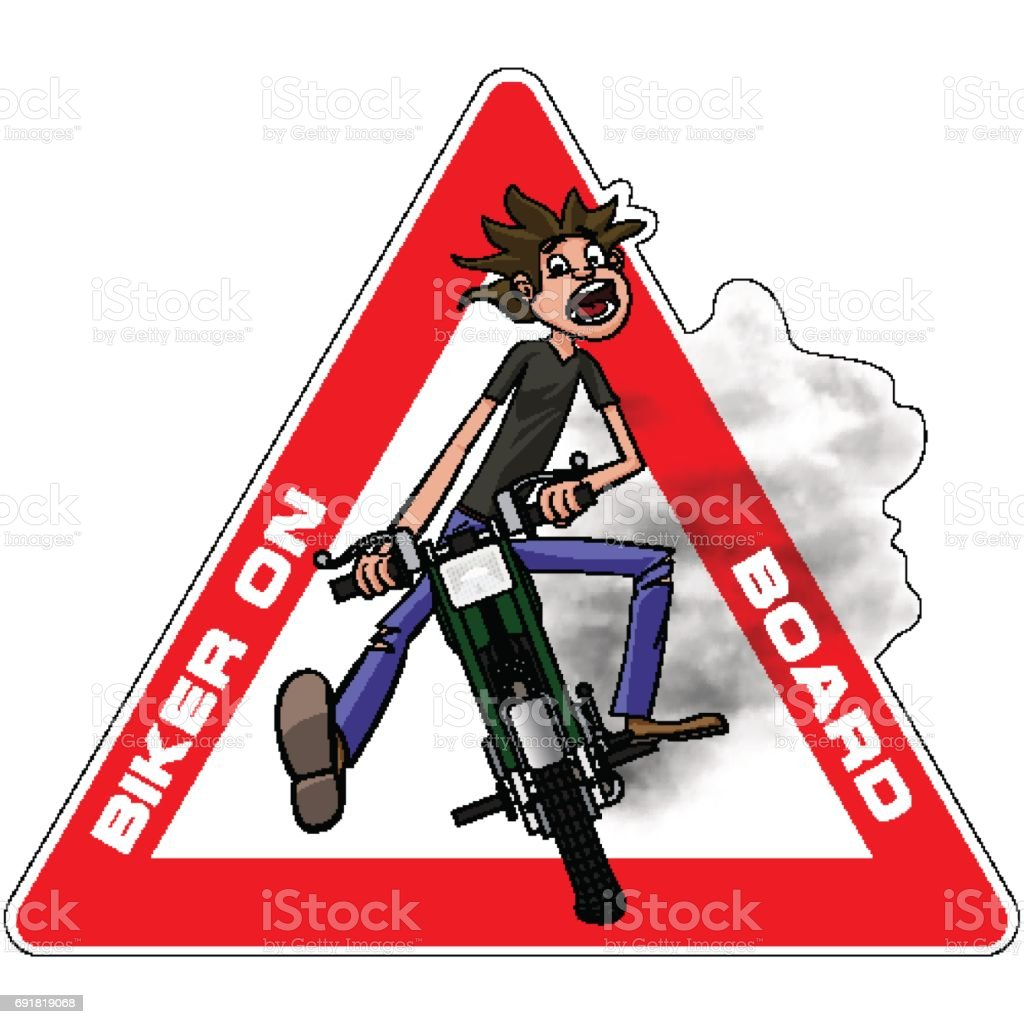 Young biker scary quickly rides on a motobike. Biker on board sticker. Vector illustration vector art illustration