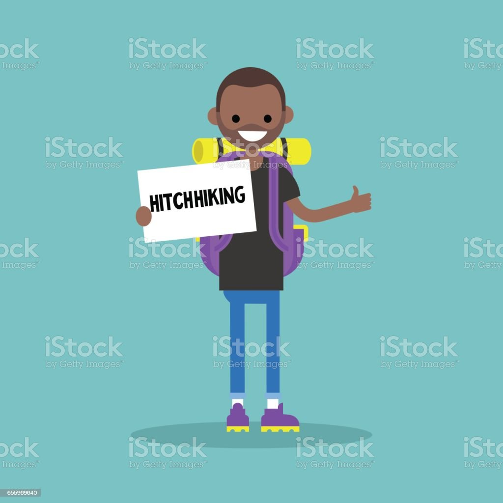 Young black backpack traveler holding a sign. Hitchhiking / flat editable vector illustration, clip art vector art illustration