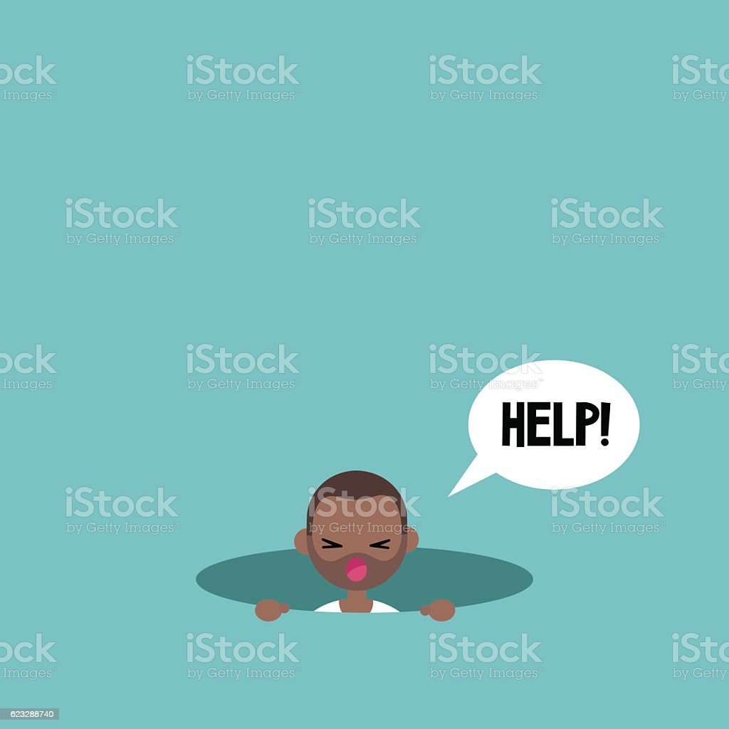 Young black man calling for help in the pit vector art illustration