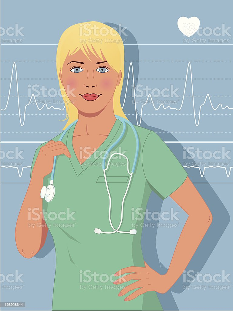 Young blond female nurse or doctor royalty-free stock vector art