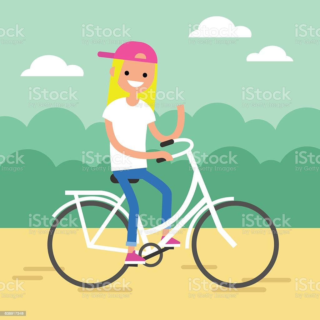 Young blond girl riding a bike and waving her hand vector art illustration
