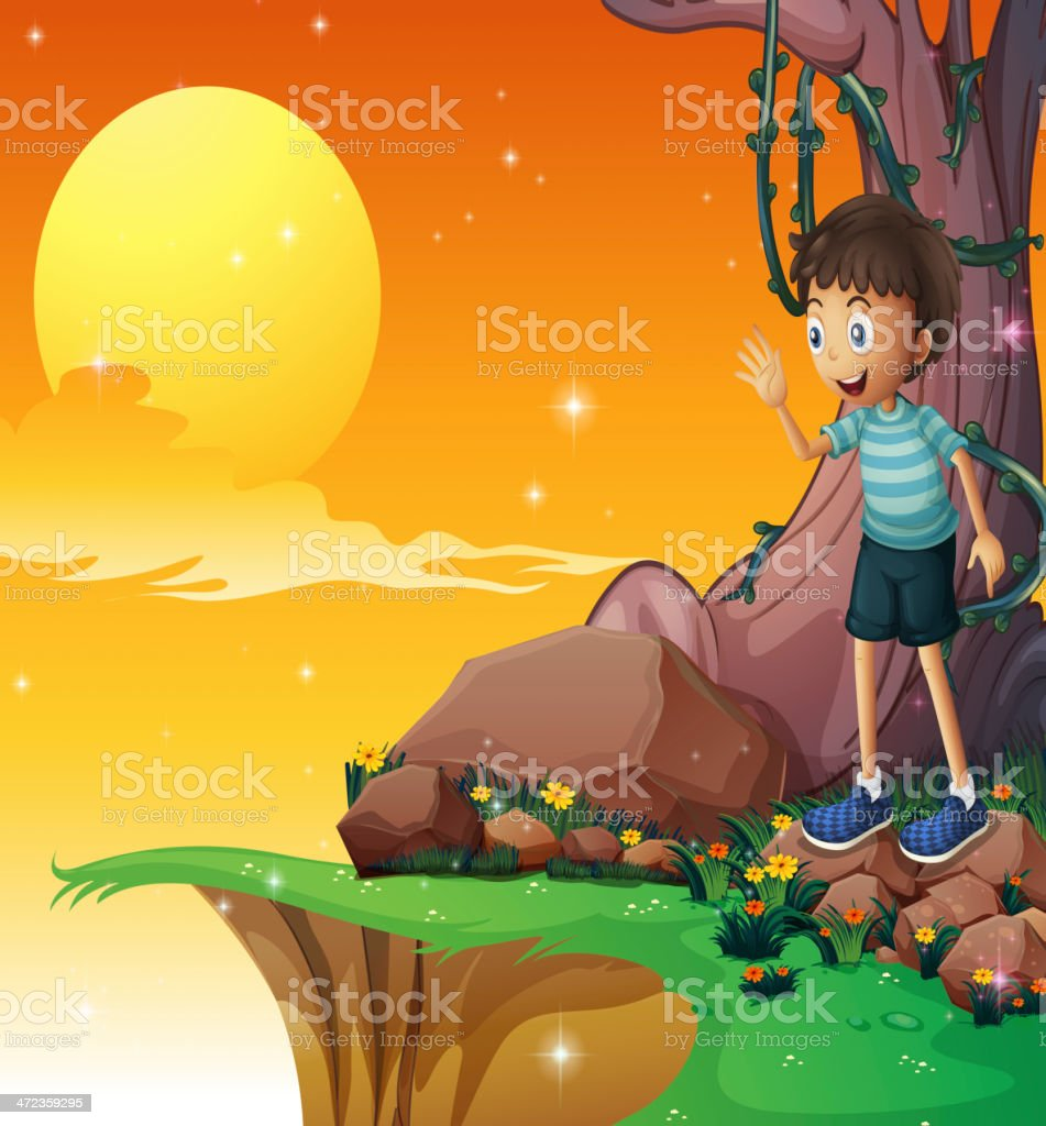 Young boy above the rocks near cliff royalty-free stock vector art