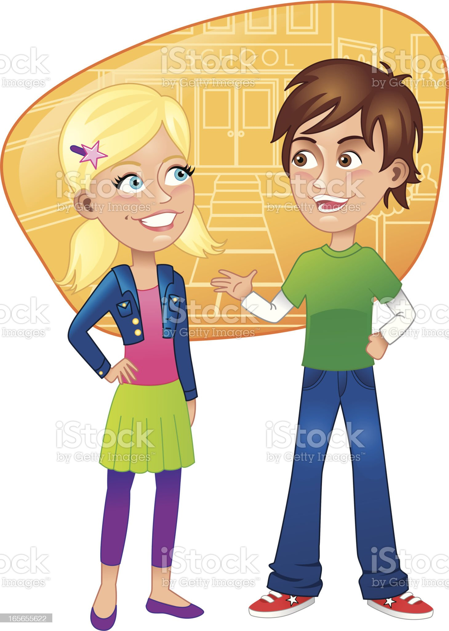 Young boy and girl talking with school background royalty-free stock vector art