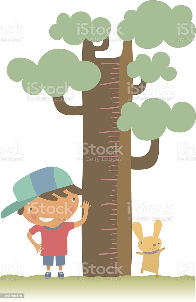 Young boy and pet checking their height against a tree royalty-free stock vector art