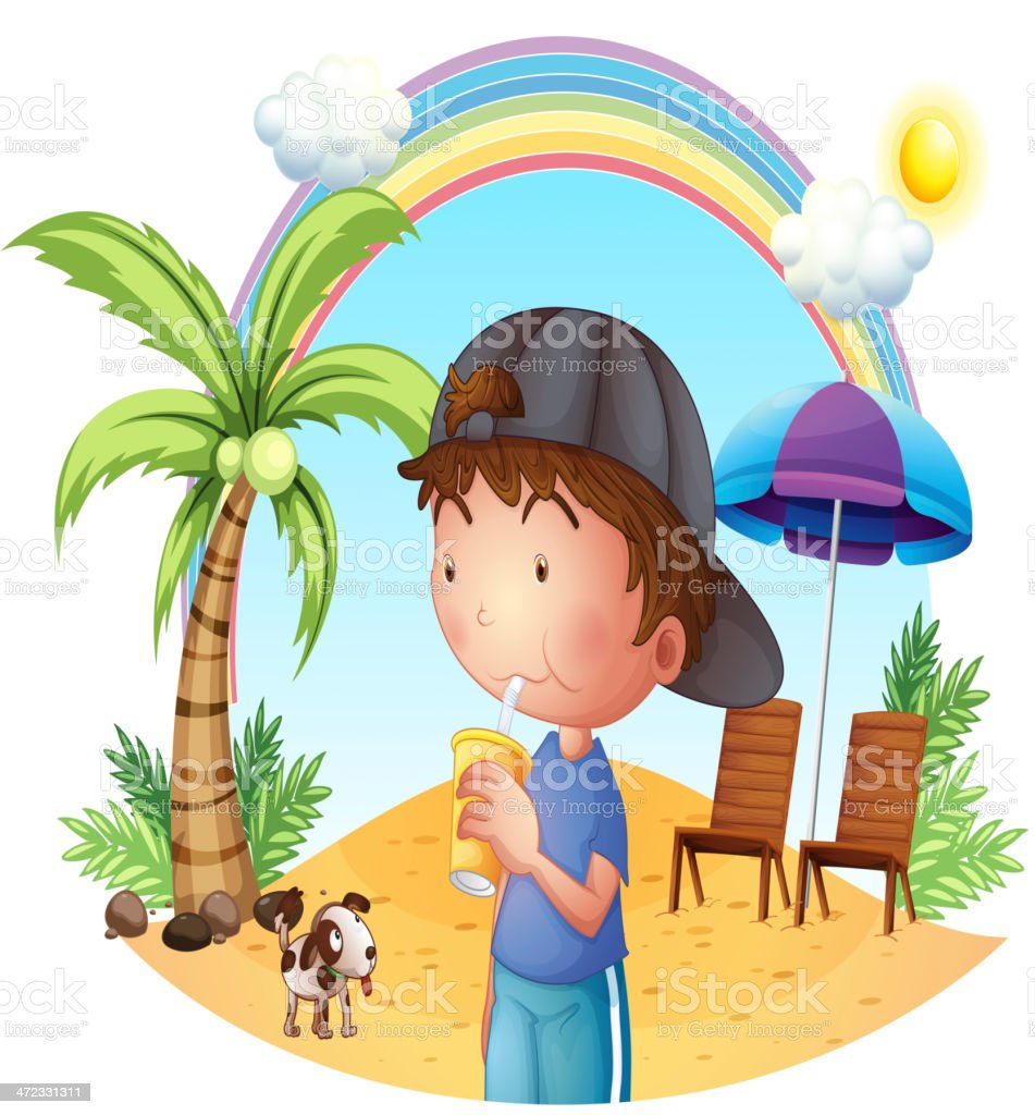 young boy at the beach with his pet royalty-free stock vector art