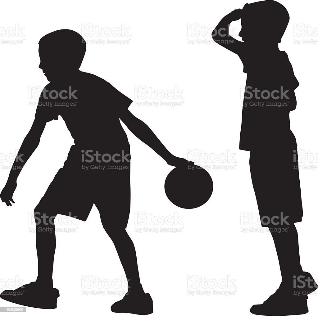 Young Boy Bowling Silhouette vector art illustration