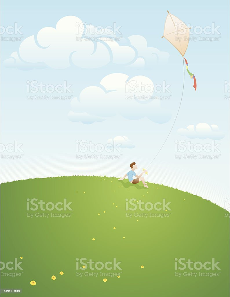 Young boy flying kite royalty-free stock vector art